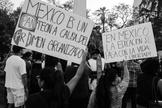 Oaxacan community in Los Angeles rally in support of Mexican teachers.